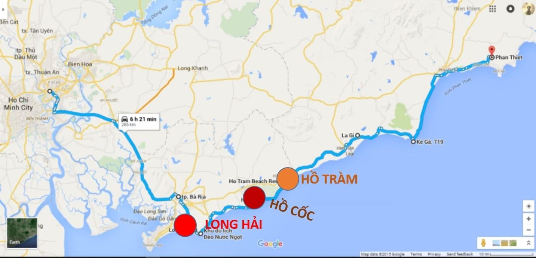 Bản đồ du lịch biển Hồ Tràm Hồ Cốc